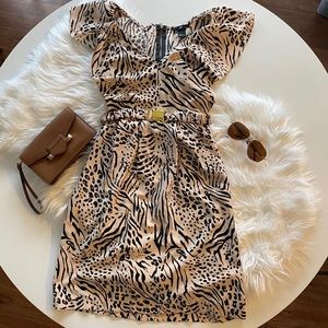 Soft Pink Animal Print Cinched Waist Dress